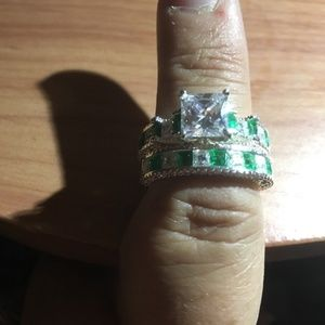 Jewelry - Emerald Green & CZ Bridal Wedding Set Sterling 9